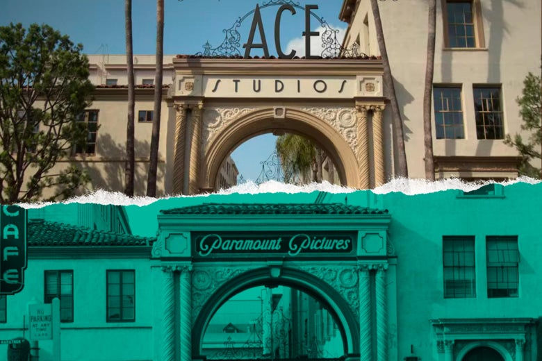 The gates with signs that say Ace Studios and Paramount Pictures.