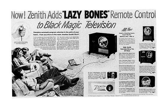 "Ad for the Zenith ""Lazy Bones"" from the 1950s."