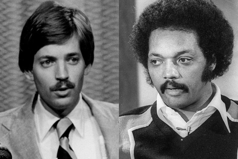 David Duke and Jesse Jackson, side by side, both speaking at press conferences