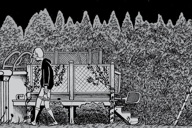 A black-and-white cartoon of a middle-aged man walking in his backyard.