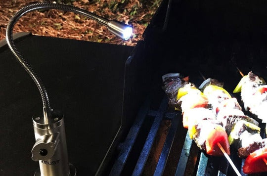 Zeust Capella Barbecue Grill Light shining on skewers on a grill.