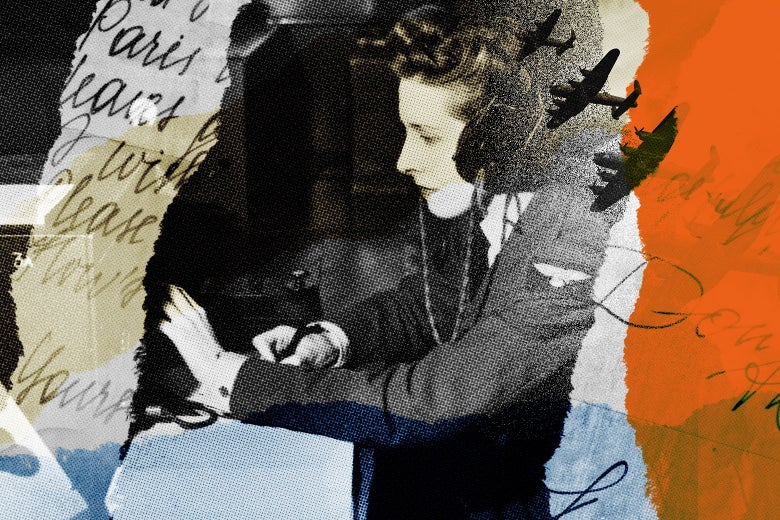 A collage shows a woman using World War II-era equipment, military aircraft, and close-ups of words scribbled on a page.