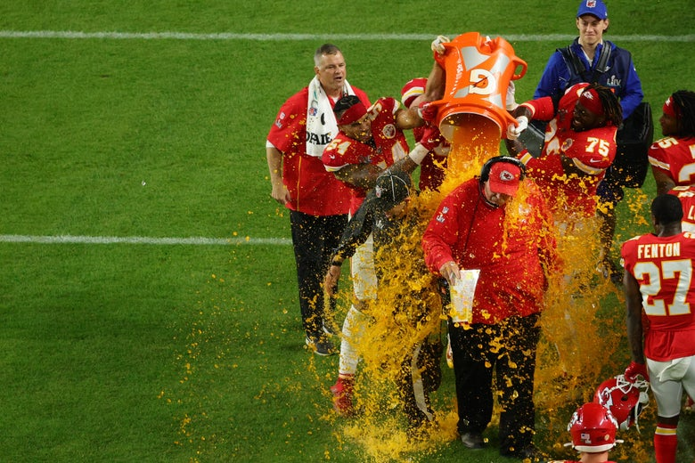 Chiefs coach Andy Reid gets a Gatorade bath during Super Bowl LIV.