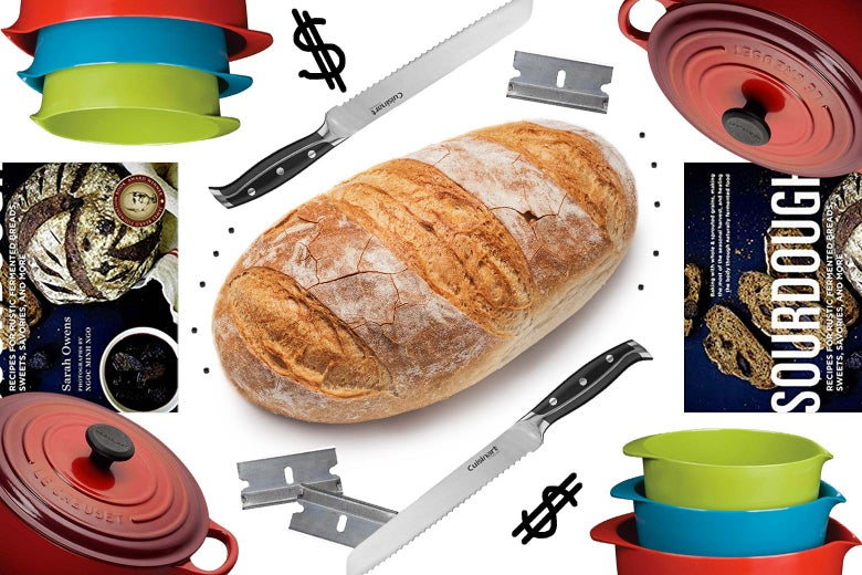 Collage of bread-baking tools, with a finished loaf of bread in the center.