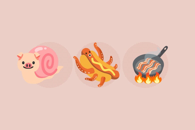 Emojis of a snail pig, an octopus hotdog, and frying bacon.