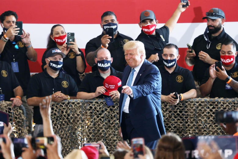 President Donald Trump attends a campaign rally at The Defense Contractor Complex on August 18, 2020 in Yuma, Arizona.