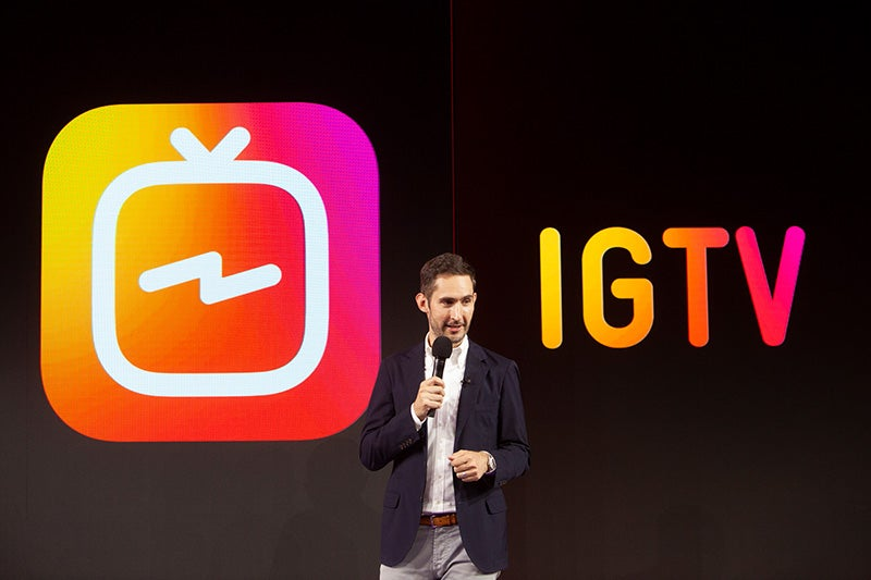 Instagram CEO Kevin Systrom at Wednesday's announcement in Menlo Park, California.