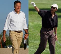Mitt Romney in Holland, Mich., and President Barack Obama in Oak Bluffs, Martha's Vineyard.