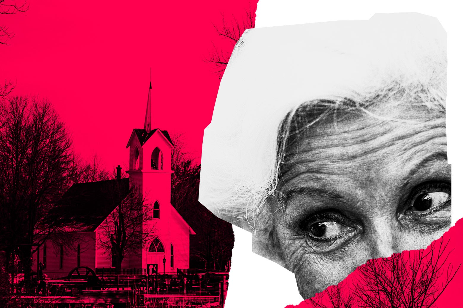 Photo illustration: An elderly woman side-eyes a church.