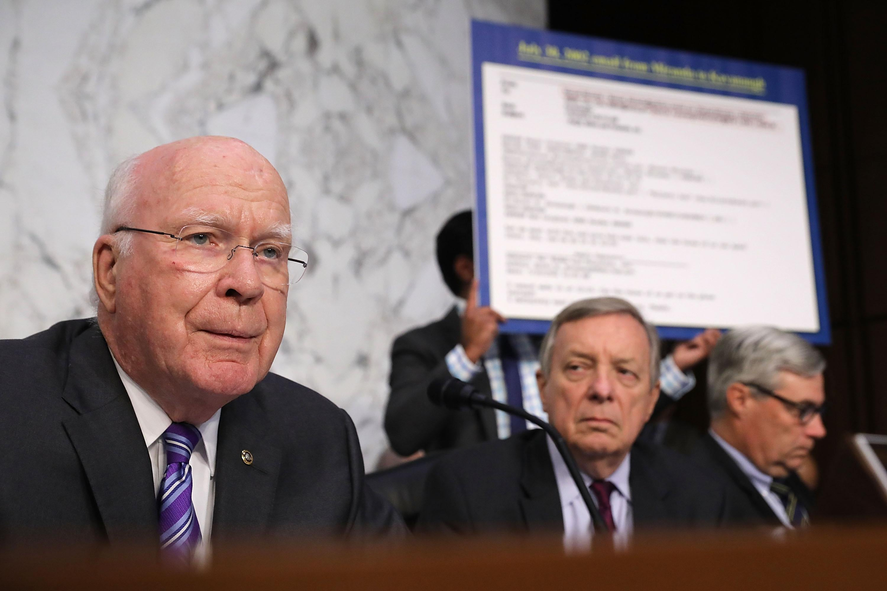 Sen. Patrick Leahy beside other members of the Senate Judiciary Committee.