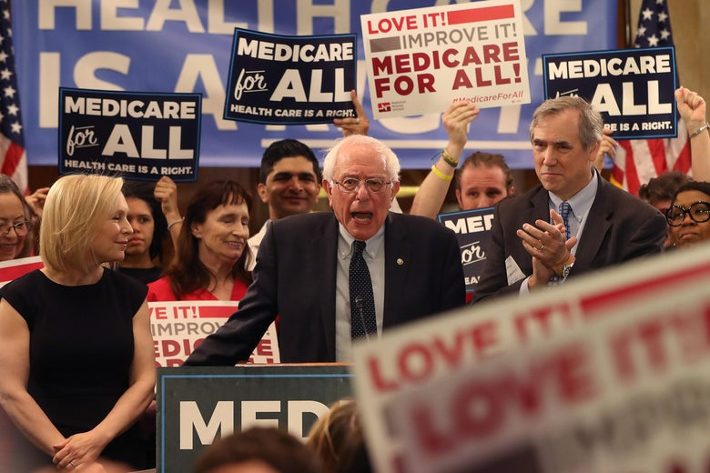 Vermont Sen. Bernie Sanders speaks while introducing the Medicare for All Act of 2019.