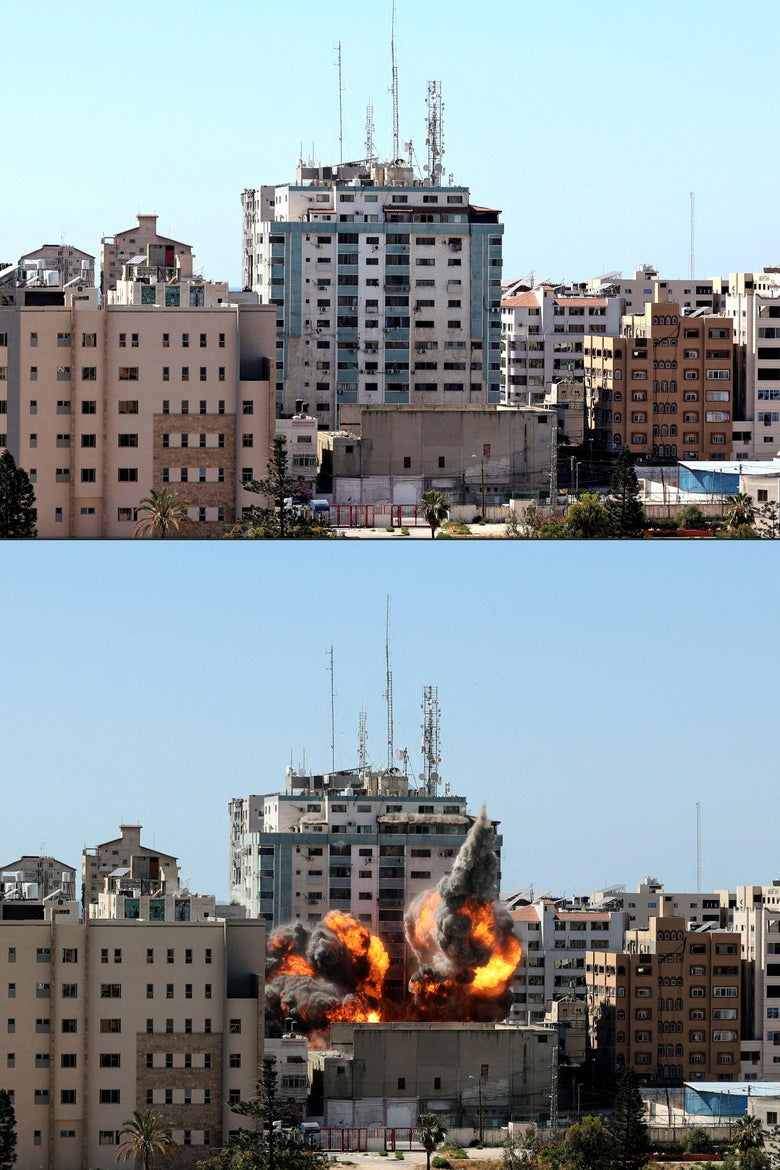 This combination of pictures created on May 15, 2021 shows, the Jala Tower (highest building) housing international media outlets in Gaza city on May 15, 2021, and a ball of fire erupting from the the same building after being hit by an Israeli airstrike on the same day. Israeli air strikes pounded the Gaza Strip, killing 10 members of an extended family and demolishing a key media building, while Palestinian militants launched rockets in return amid violence in the West Bank. Israel's air force targeted the 13-floor Jala Tower housing Qatar-based Al-Jazeera television and the Associated Press news agency. (Photos by MAHMUD HAMS / AFP) (Photo by MAHMUD HAMS/AFP via Getty Images)