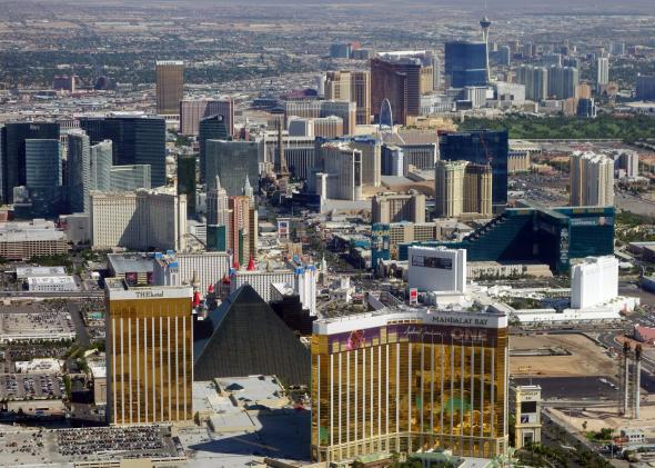 Aerial shot of the Las Vegas strip.