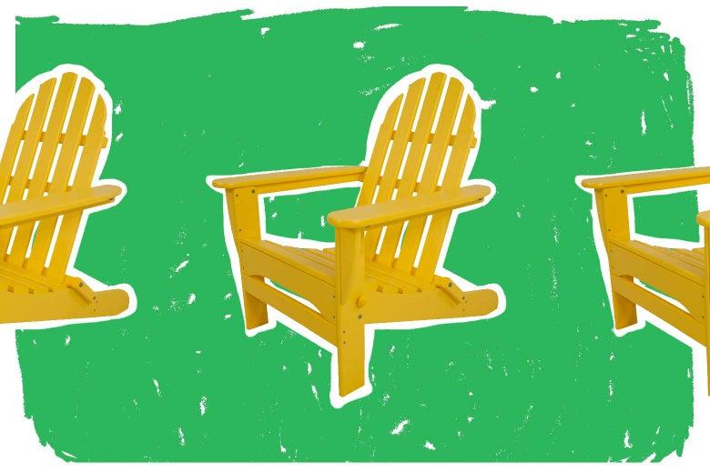 Yellow Adirondack chairs.