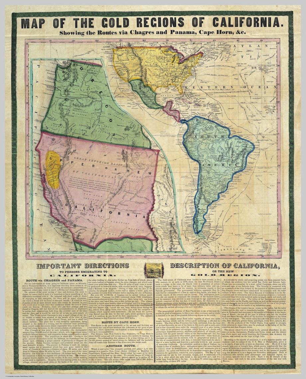 California Gold Rush Map Gold Rush Map: Guided prospectors headed to California