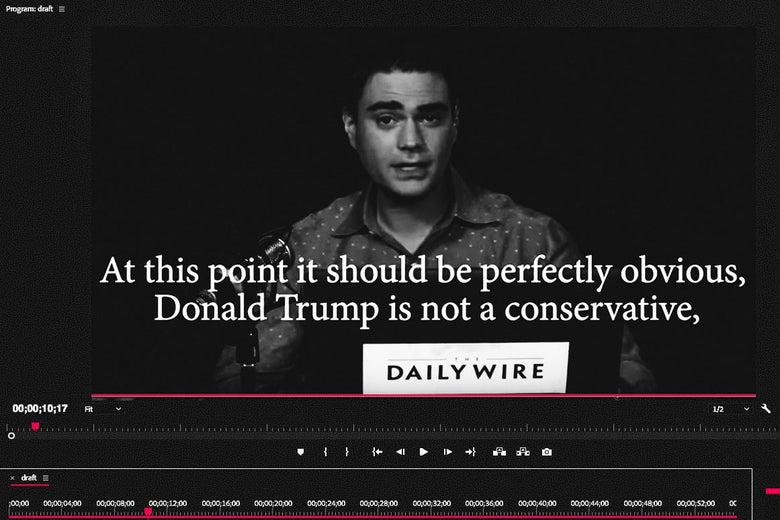 A cropped in view of a video editor containing a scene from The Ben Shapiro Show on YouTube.