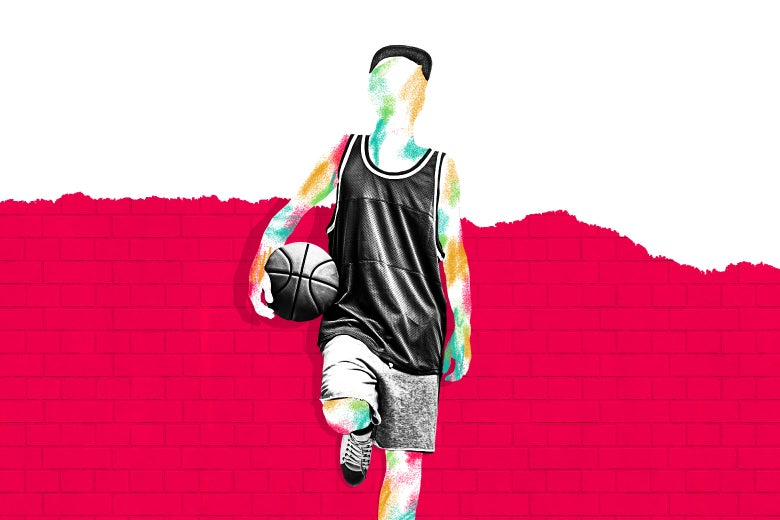 Photo illustration of a boy in basketball clothes standing against a wall with a basketball in hand.
