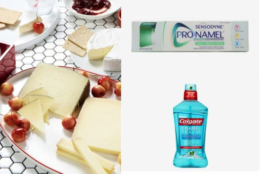 assorted cheeses, mouthwash and toothpaste