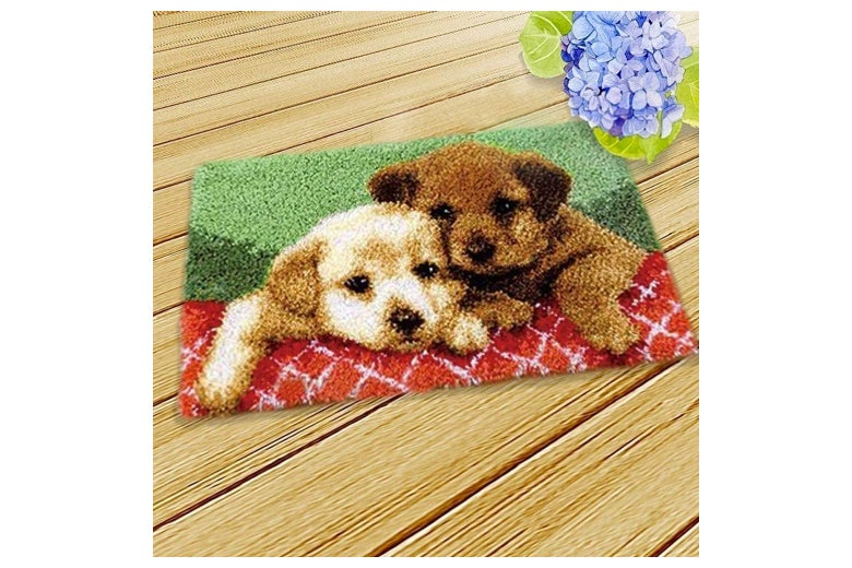 Puppies on a latch hook design.