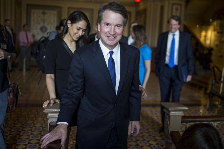 Supreme Court nominee Judge Brett Kavanaugh leaves a meeting with Senate Minority Leader Chuck Schumer on Tuesday in Washington.