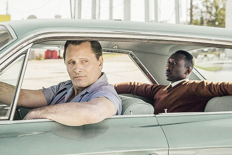 Viggo Mortensen and Mahershala Ali in a car in Green Book.