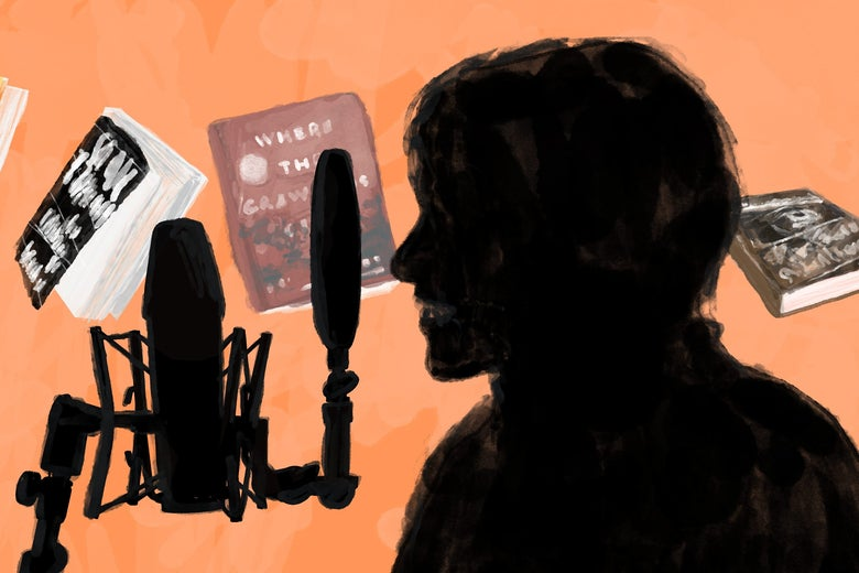Drawing of a person in profile behind a microphone with some of the books mentioned in the article behind him.