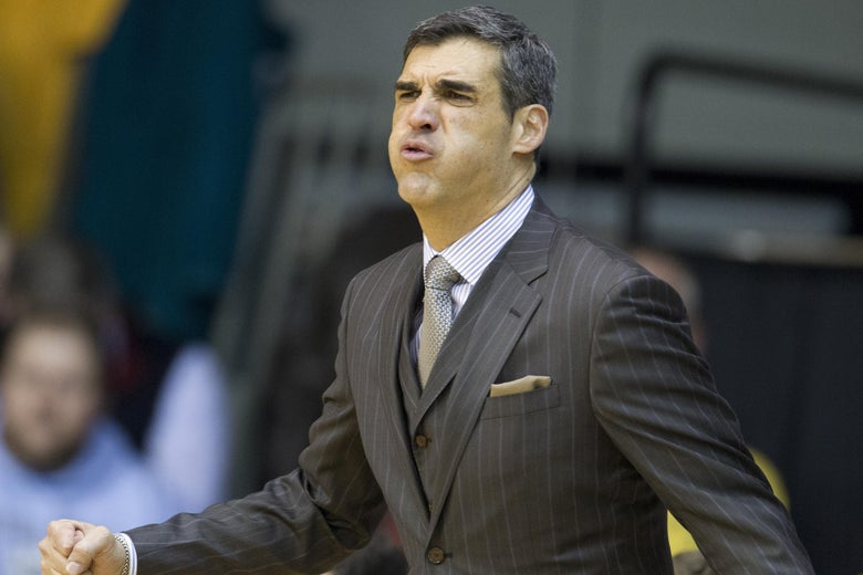 VILLANOVA, PA - FEBRUARY 26: Head coach Jay Wright of the Villanova Wildcats reacts during the game against the Butler Bulldogs on February 26, 2014 at the Pavilion in Villanova, Pennslyvania. (Photo by Mitchell Leff/Getty Images)