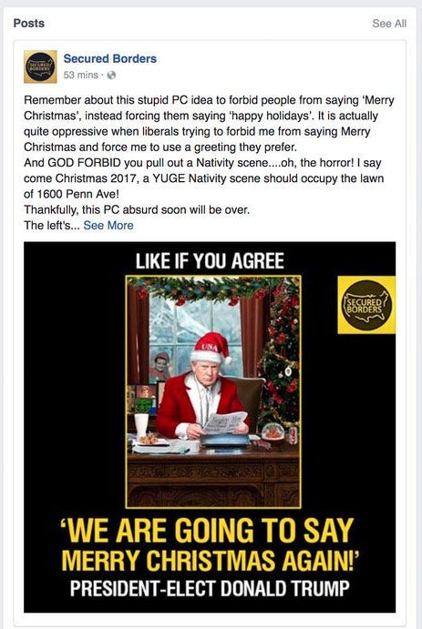 One of the ads posts by the Internet Research Agency that Facebook provided to Congress. It focuses on the so-called war on Christmas.