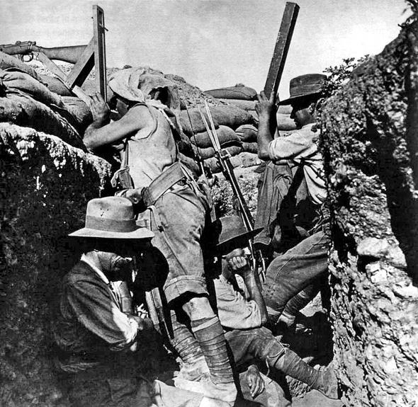 Australian sniper using a periscope rifle at Gallipoli, 1915.