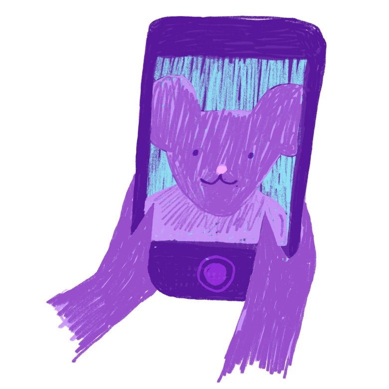 A purple rat takes a selfie.