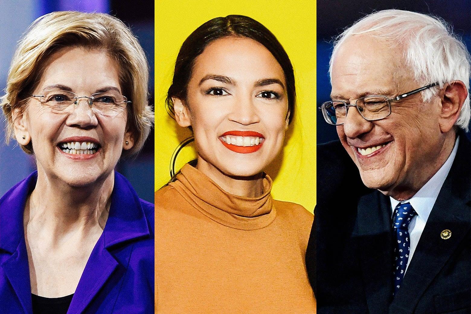 Photo illustration of Elizabeth Warren, Alexandria Ocasio-Cortez, and Bernie Sanders