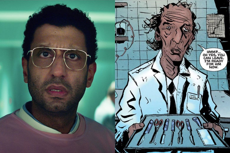 A split-screen: On the left, actor Adeel Akhtar, a normal looking guy wearing gold glasses and pink surgical scrubs, looks at the camera in the role of Dr. Singh on Sweet Tooth. On the right, a panel from the Sweet Tooth comic book showing Singh as Lemire draws him, a grotesque monster with a shamble of a face.