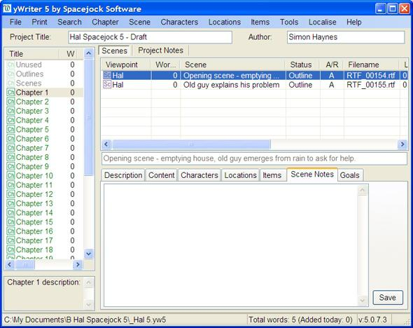 Screenshot of yWriter 5
