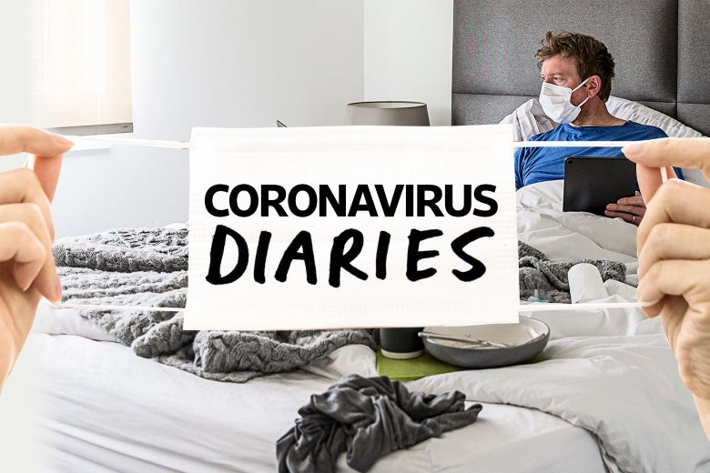 """A face mask with the words """"Coronavirus Diaries"""" is stretched over a picture of a man wearing a mask in bed."""