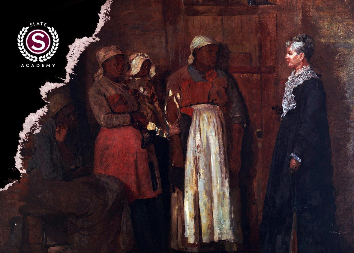"Winslow Homer's 1876 ""A Visit from the Old Mistress"" depicts a tense meeting between a group of newly freed slaves and their former slaveholder."