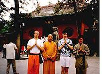 The author (second from right) with friends in front of the famous Shaolin Temple gate