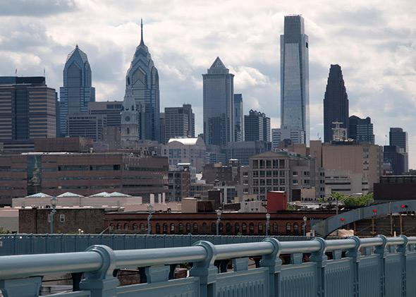 Philadelphia skyline from the historic Ben Franklin Bridge.