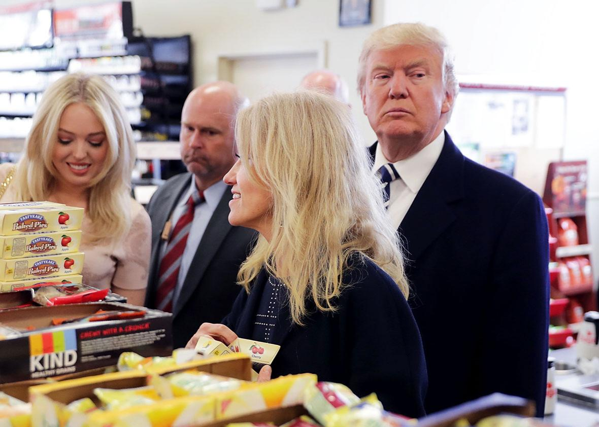 Republican presidential nominee Donald Trump, his daughter Tiffany Trump, and his campaign manager Kellyanne Conway shop for snack food at a Wawa gas station November 1, 2016 in Valley Forge, Pennsylvania.
