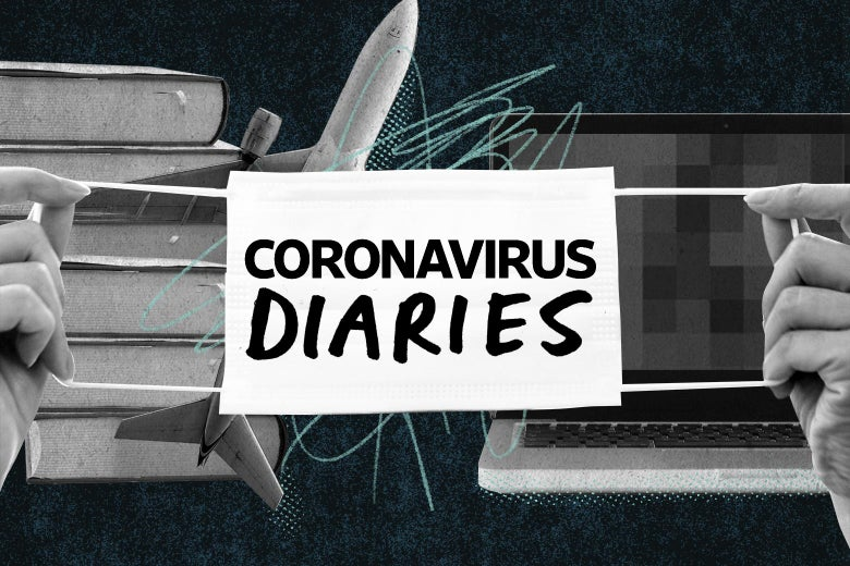 "Amazon boxes, a plane, and a laptop with a blurred out screen behind a mask that says ""Coronavirus Diaries."""