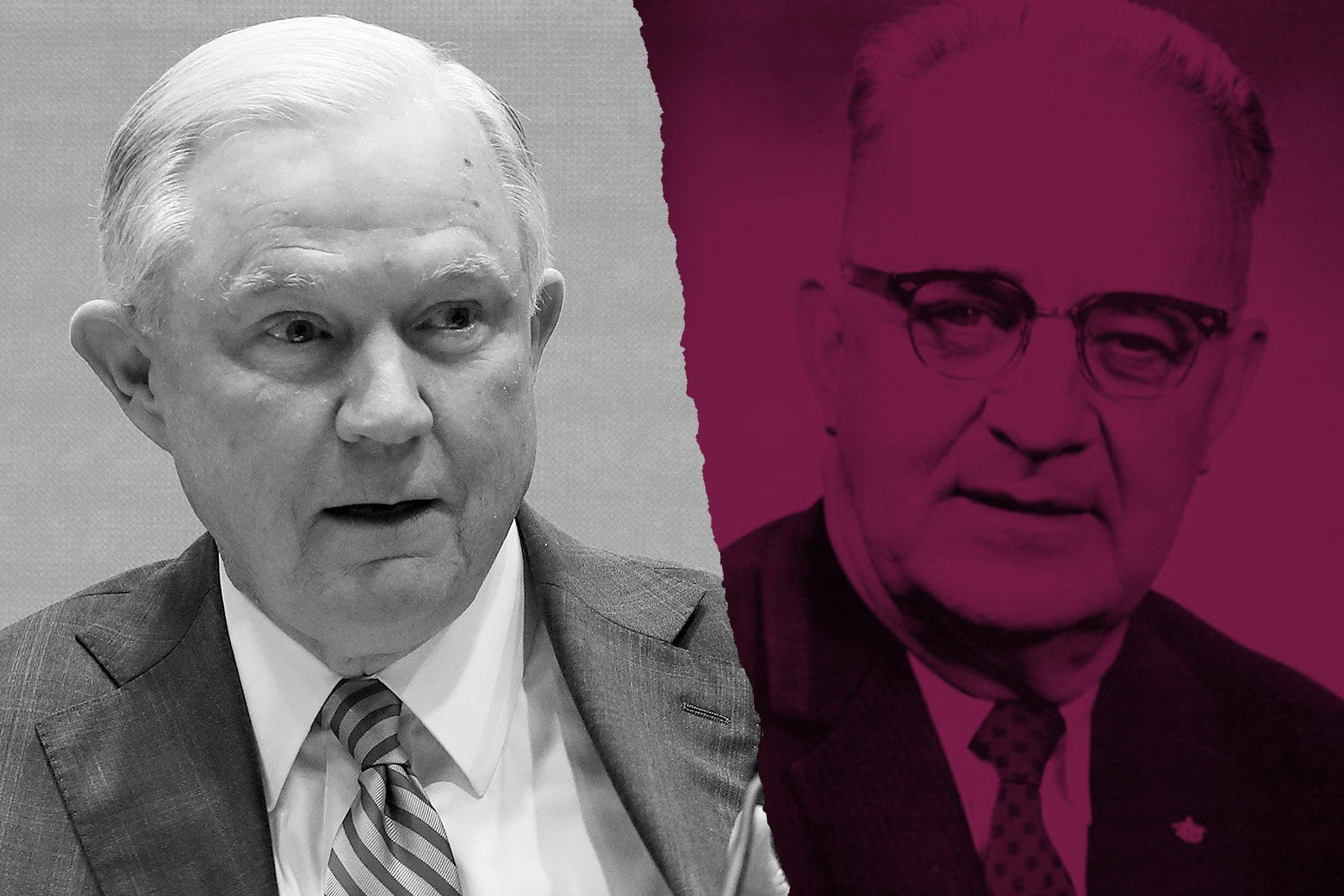 A photo illustration of Jeff Sessions and Bull Connor.