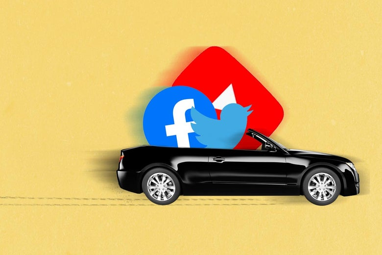 Twitter, Facebook, and YouTube logos ride in a speeding convertible with skid marks behind it