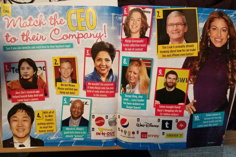 A picture of the match-the-CEO-to-the-company quiz spread in Teen Boss magazine.