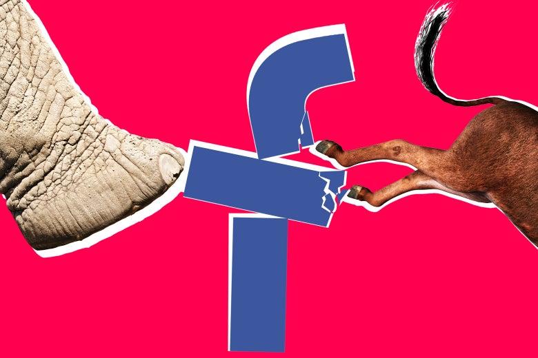 Elephant and donkey kicking Facebook logo.