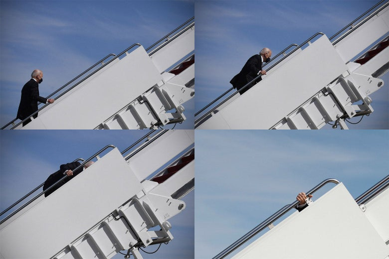 A series of four photos, taken from the side, showing Biden stumbling on a set of airplane stairs.