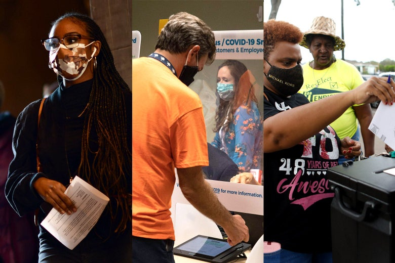Side-by-side photos show different masked voters submitting their ballots.