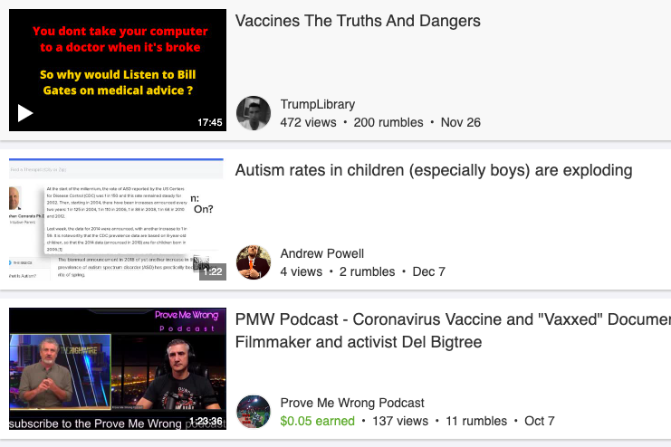 Screenshot of a list of vaccine misinformation videos that come up in a Rumble search