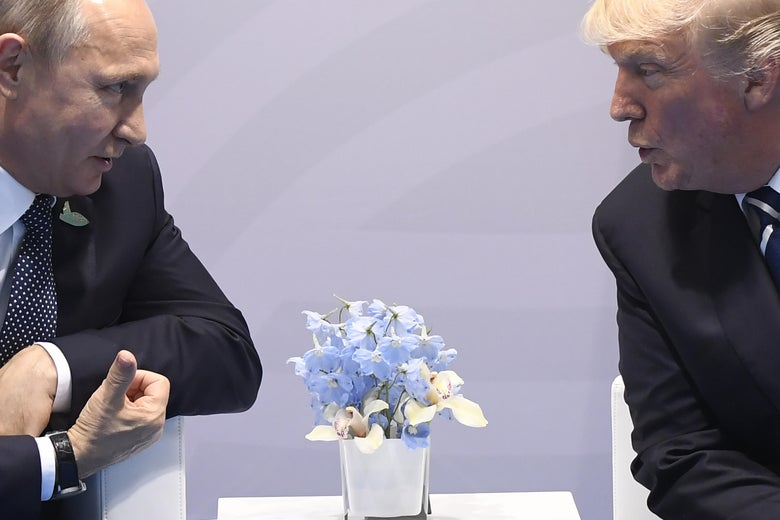 President Trump and President Putin lean in to have a quiet conversation on the sidelines of the G-20 Summit in Hamburg.