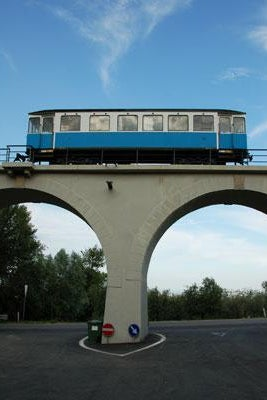 A restored train car memorializes San Marino's defunct railroad.