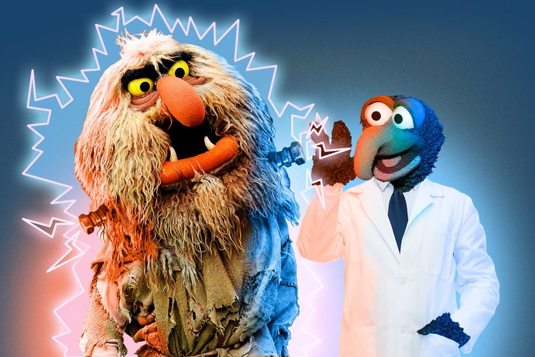 Sweetums the Muppet with Frankenstein bolts in his neck, surrounded by electicity, next to Gonzo the Muppet wearing a lab coat.