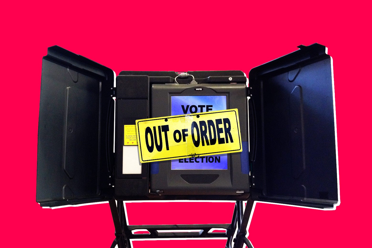 "Photo illustration: A voting machine is covered by an ""out of order"" sign."